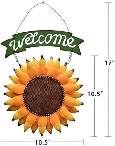 Metal Hanging Sunflower Welcome Sign Door Sign Vintage Welcome Decor