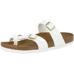 premium selection b533a dd522 Details zu Birkenstock Mayari Birko Flor Lack Schuhe Pantoletten white  Weite schmal 1005281