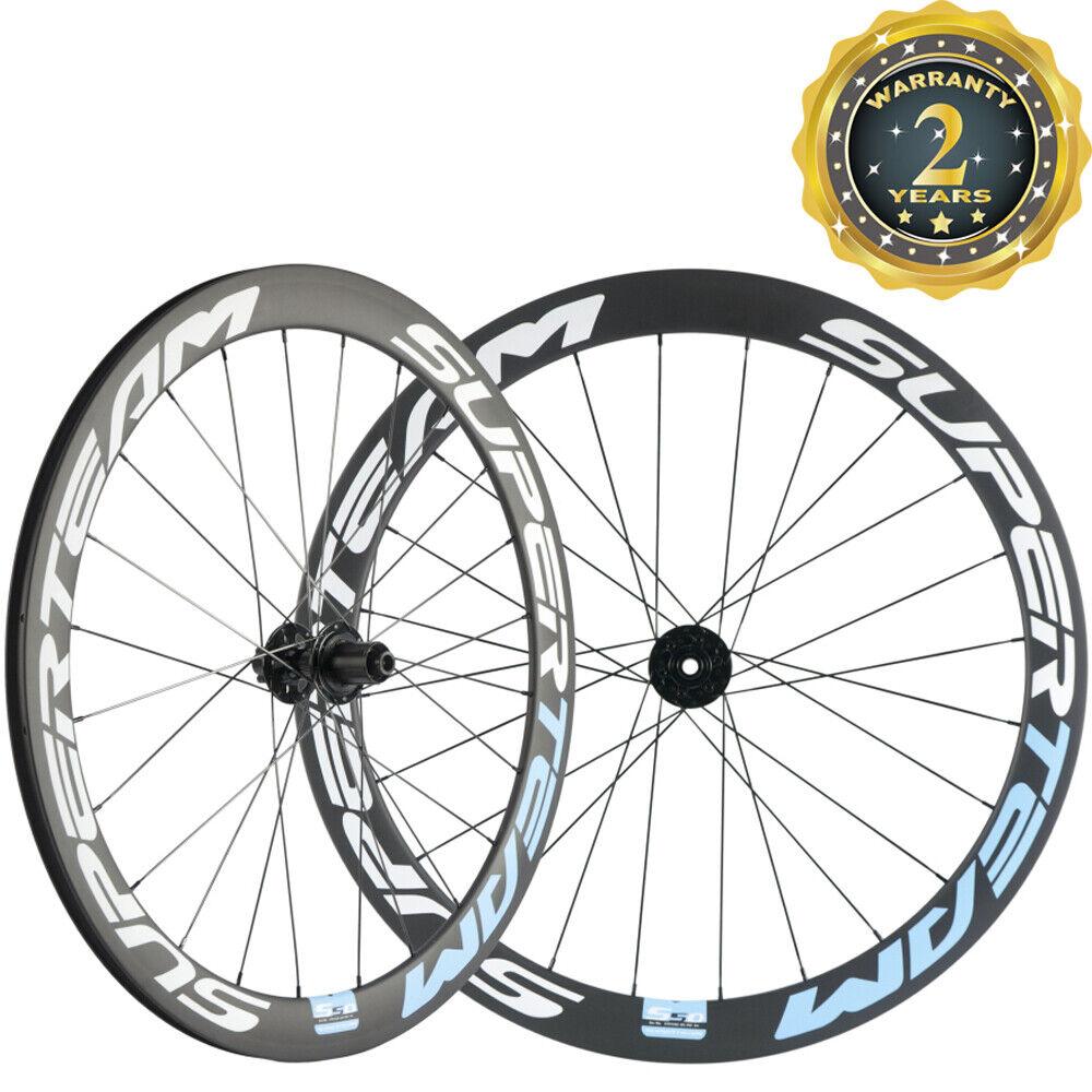 Carbon Road Bike Disc Brake Wheels 50mm 23mm Disc Brake Wheelset Thru Axle QR