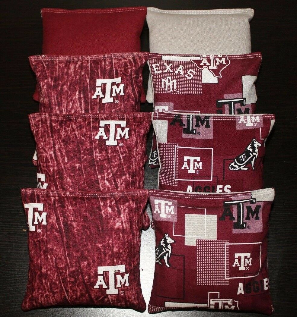 All Weather TEXAS A&M University AGGIES CORNHOLE BEAN BAGS Plastic Resin Filled