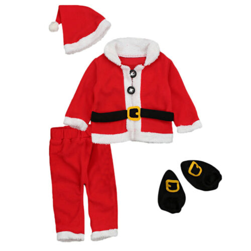 0-24Months Baby Christmas 4Pcs Santa Claus Tops+Pants+Hat Outfit Cosplay Costume