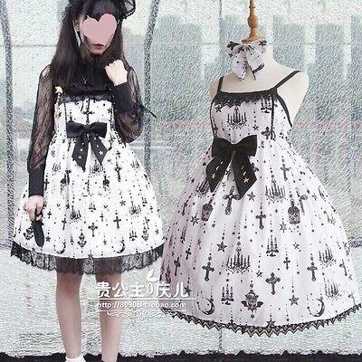 Japanese Sweet Slim VINTAGE Mori Girl Lace Lolita Kawaii Bow Suspenders Dress #