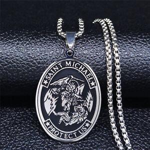 Archangel-Saint-Michael-Catholic-Patron-Protect-Us-Pray-Medal-Pendant-Necklace