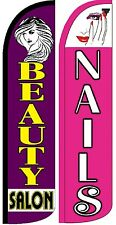 Beauty Salon , Nails Windless Standard Size  Swooper Flag Sign Banner Pk of 2