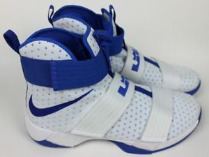 best authentic 8f299 f5ded Details about Nike LeBron Soldier 10 Blue and White 856489-140 Mens Size 18