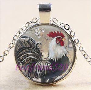 Cock Photo Cabochon Glass Tibet Silver Chain Pendant Necklace