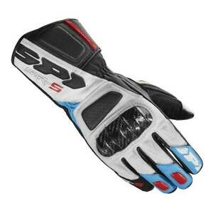 Spidi-STR-5-White-Blue-Red-Motorbike-Motorcycle-Leather-Gloves-All-Sizes