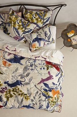 ANTHROPOLOGIE Creature Hideaway KING QUILT Comforter Hothouse Flora Fauna NIP