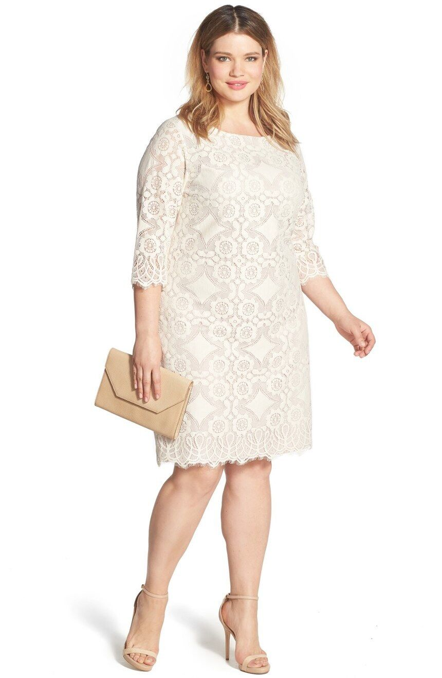 Eliza J Lace Shift Dress (Plus Size) (Size 16W)