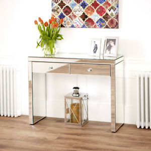 Venetian-Mirrored-2-Drawer-Dressing-Table-Glass-Hall-Console-Telephone-VEN66