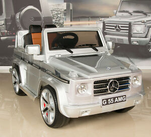 Silver mercedes g55 amg 12v ride on kids battery power for Red mercedes benz power wheels