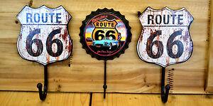 Garderobenhaken-3-er-Set-Route-66-Wandhaken-Haken-Retro-Nostalgie-USA-Oldtimer