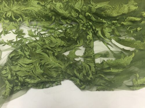 Olive Green Rhinestone Vines Embroider On A Mesh-nightgown-prom-Sold By the Yard