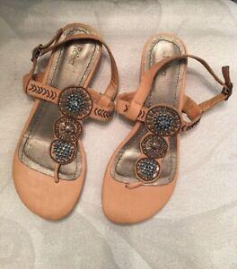 5fa21b69d Reba Embellished Thong Flat Wedge Sandal strap with buckle Tan Camel ...