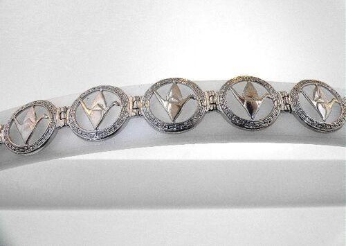 "12.5mm Hawaiian 925 STER Silver Sadako Peace Crane Wing Down Origami Bracelet 7/"""