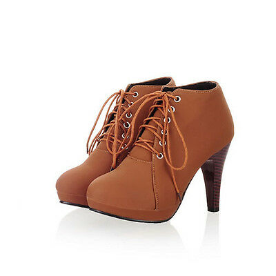 F Womens Short Boots Shoes High Heels Platform Stiletto Ankle Lace Up Round Toe