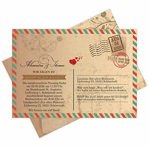einladungskarten zur hochzeit als postkarte im us airmail. Black Bedroom Furniture Sets. Home Design Ideas