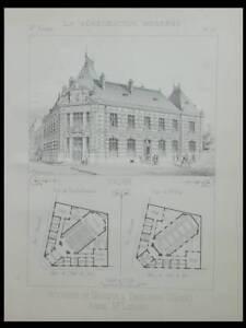 Tourcoing, Ecole De Musique - 2 Planches-construction Moderne 1893- Louis Leroux Ventes Bon Marché