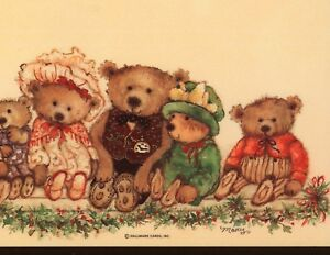 MINT.! MARY HAMILTON (5) SHEETS CHRISTMAS TEDDY BEAR STATIONERY,OLD HALLMARK
