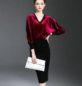 Women-Velvet-Chic-Batwing-Long-Sleeve-Slim-Fit-V-neck-Dress-Party-Cocktail-Vogue