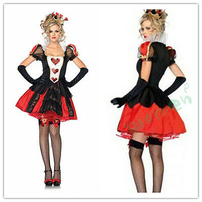 RED QUEEN OF HEARTS ALICE IN WONDERLAND COSTUME FANCY DRESS HALLOWEEN