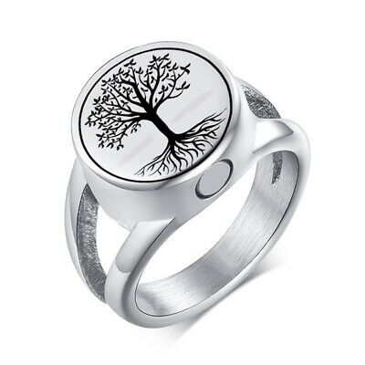 SG Cremation Ash Rings Tree of Life Stainless Steel Memorial Urn Jewellery for Ashes Size 10