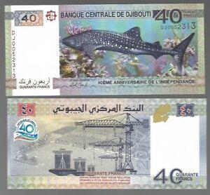 DJIBOUTI-40-FRANCS-2017-P-NEW-COMMEMORATIVE-UNC-BANK-NOTE-SHARK