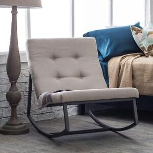 Image Is Loading Upholstered Rocking Chair Tufted Cushion Metal Nursery  Rocker