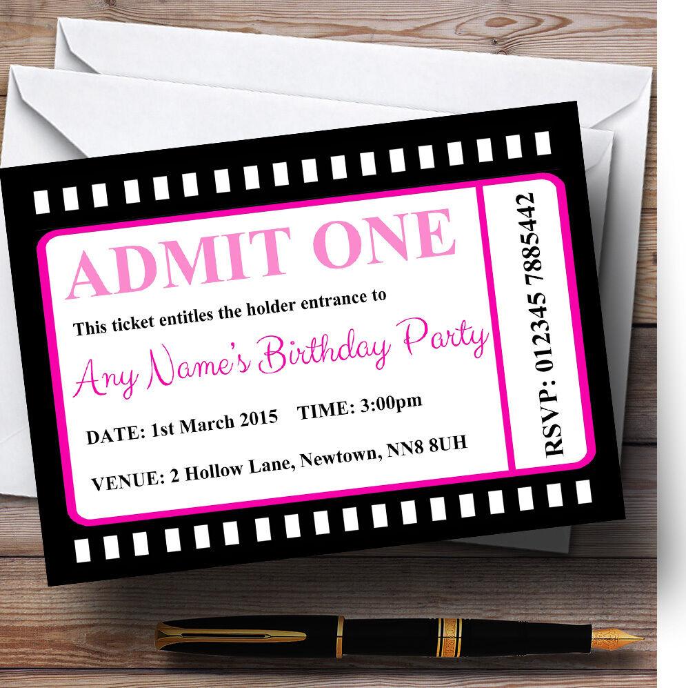 MOVIE BIGLIETTO BIGLIETTO BIGLIETTO rosa personalizzata Festa Di Compleanno Inviti 6bc02c