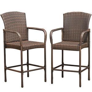 Brilliant Details About 2 Pc Set Brown Indoor Outdoor Rattan Wicker Bar Stool Chair Footrest Armrest Pub Machost Co Dining Chair Design Ideas Machostcouk