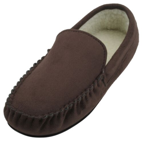 Slumberzzz Mens Faux Suede Borg Lined Moccasin Slipper