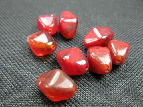 8 heures de perles de verre ROUGE marbré 13x9mm Perles 9662 k13