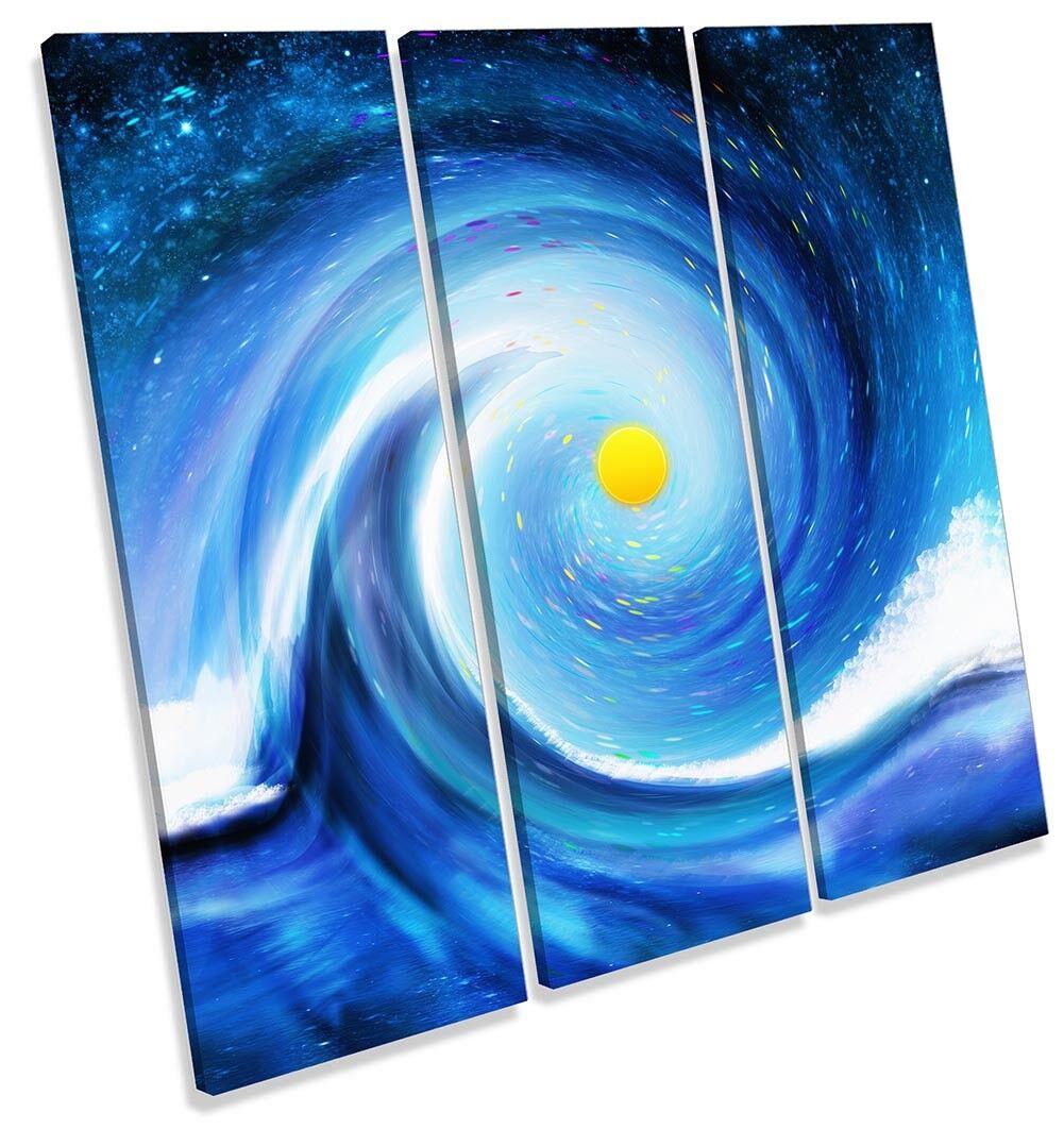 Blau Wave Sun Spiral Bathroom TREBLE CANVAS WALL ARTWORK Print Art