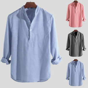 Mens-Collarless-Shirts-Vintage-Striped-Long-Sleeve-Grandad-Shirt-Button-Top-Tees