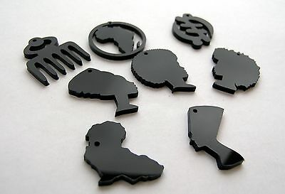 2 acrylic pendants, charms cut outs Africa in a circle African Map Nefertiti