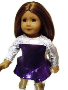 Ice Skating Outfit fits American Girl 18 inch Doll Clothes Purple Silver Sparkly