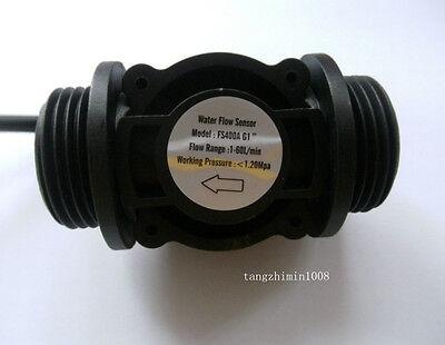"G1"" Water Flow Hall Effect Sensor Switch Flowmeter Counter 1-60L/min"