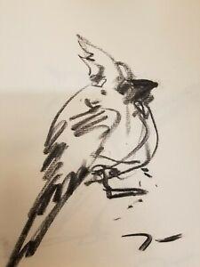 "JOSE TRUJILLO Original Charcoal Paper Sketch Drawing 12"" Bird Cardinal SIGNED"