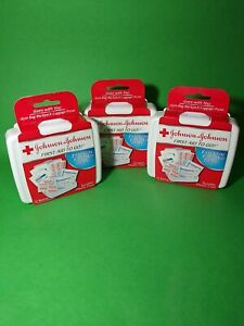 Johnson & Johnson First First Aid Kit Travel Size Plastic Case Lot of 3