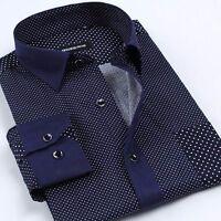 8 Colors Mens 100% Cotton Long Sleeve Dot Business Casual Dress Shirt 38-44
