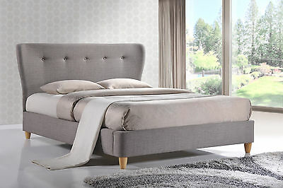 BIRLEA KENSINGTON UPHOLSTERED PADDED FABRIC BED IN SKY BLUE OR GREY 4'6 or 5'