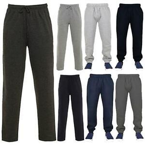 Uomo-Casual-Tinta-Unita-Pantaloni-sportivi-Bottoms-Apri-Hem-Sudore-Pantaloni-Tasche-Con-Zip