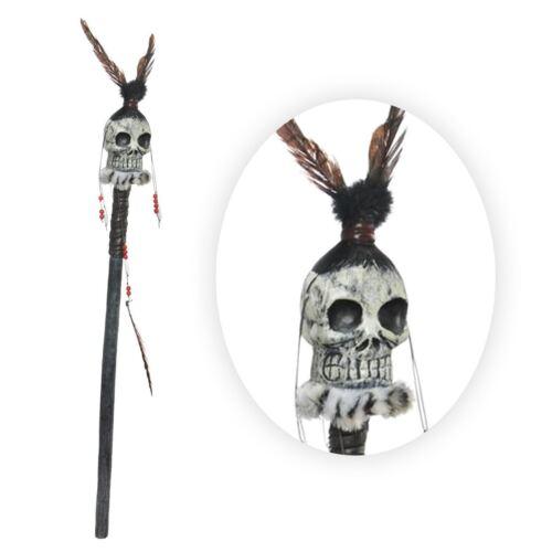 104cm Stregone personale TESCHIO Voodoo Sciamano Tribale Piume Perline Canna di scena