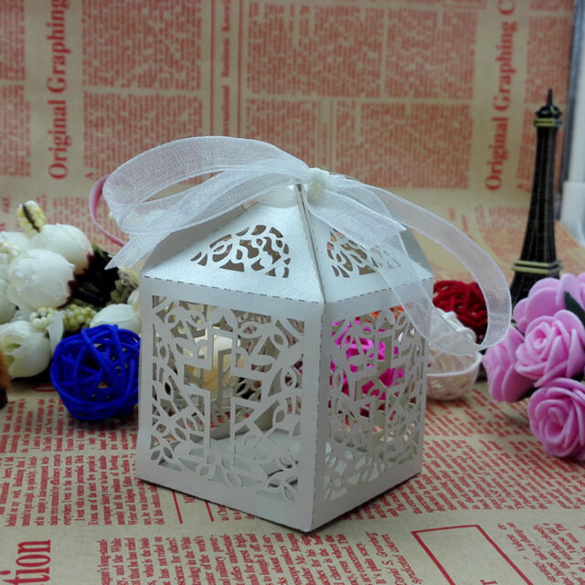 10x Cross Hollow Wedding Party Paper Favor Candy Boxes With Ribbon BDAU