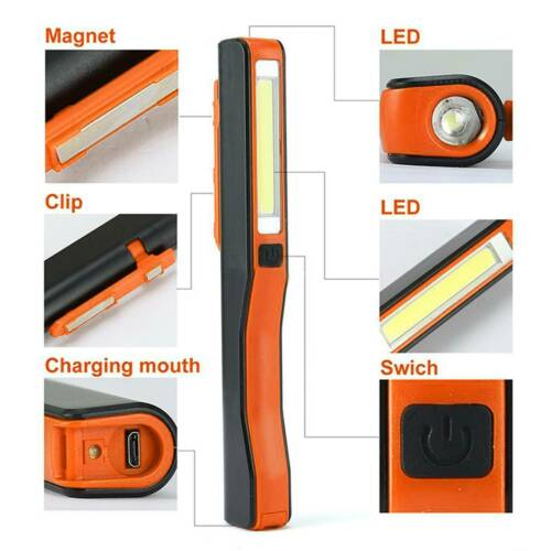 USB LED COB Inspection Lamp Work Light Flexible Rechargeable Torch Magnetic UK