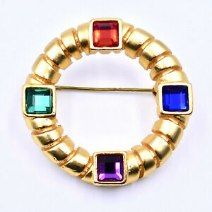 Givenchy-Couture-Rhinestone-Circle-Pin-Brooch-Gold-Plated-France-Vintage