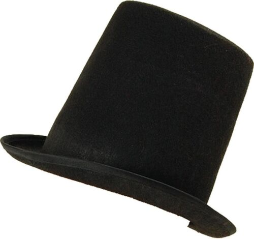 Adults Fancy Dress Black Stovepipe Top Hat Victorian Accessory 1//2//3//4