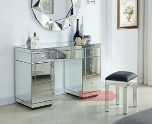 Image Is Loading 7 Drawers Mirrored Dressing Table With Stool Clear