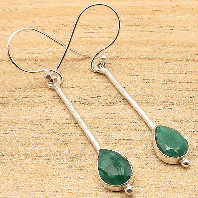 BUY WITH COMBINED SHIPPING 925 Silver Overlay Jewelry Rare EMERALD Long Earrings