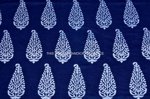Hand Block Printed Blue Paisley Design Loose Fabric Apparel Shirt Shorts By Yard